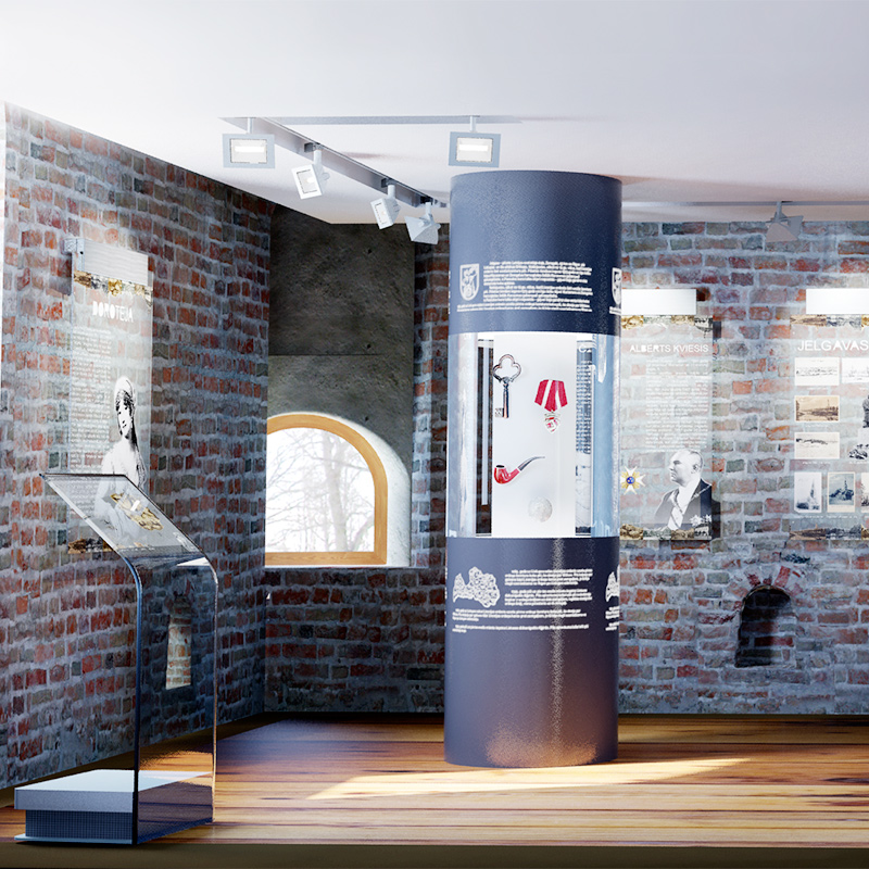Visualizations of an exhibition about the Culture and lifestyle of ancient latvians, located in a church tower in Jelgava, Latvia.