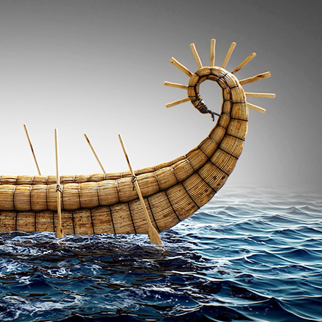 Digital reconstruction of prehistoric boats in ancient Caspian Sea region.