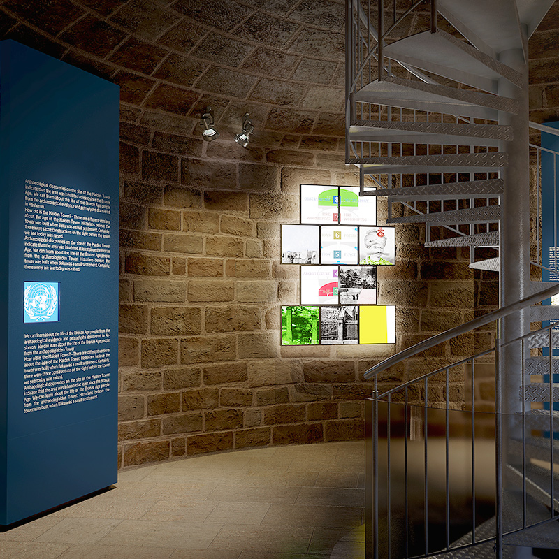 Renders from exhibiton proposal visualizations for ancient tower in Old City, Baku, Azerbaijan