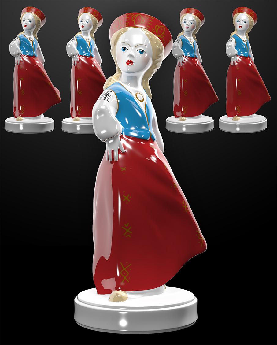 Folk-maid 3D Figurine