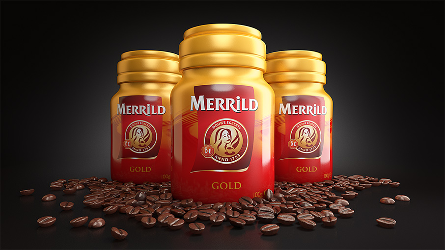 Renders of Merrild Coffee New Packaging